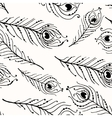 Seamless graphic pattern of peacock feathers vector image
