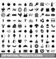 100 natural products icons set simple style vector image vector image