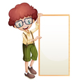 A boy showing an empty frame vector image vector image