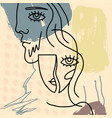 abstract line drawing a face vector image