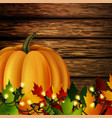 autumn leaves and pumpkin on wooden texture vector image vector image