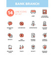 bank branch - modern single line icons set vector image vector image