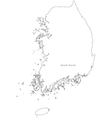 Black White South Korea Outline Map vector image