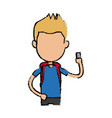 boy cartoon student young character with vector image vector image