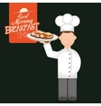 breakfast time chef man tray pancakes delicious vector image