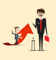Businessmen characters red with arrow