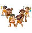 cavemen in different positions vector image vector image