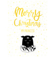 christmas card gold my princess cute magic piggy vector image vector image