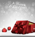 christmas decorations balls and gift box vector image