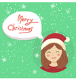 Circle Christmas Girl Bubble Speech vector image