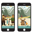 Concept flat design with fisherman and hunter in vector image