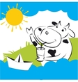Cow With Paper Ship vector image vector image