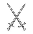 crossed swords sketch vector image vector image