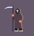 cute guy wearing grim reaper scarecrow costume man vector image