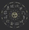 drawn zodiac symbols circle horoscope vector image vector image