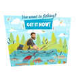 fisherman in boat fishing sport hooks and baits vector image vector image