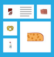 flat icon eating set of fizzy drink cookie vector image vector image