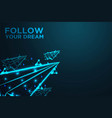 flying paper plane follow your dream abstract vector image
