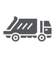 garbage truck glyph icon transportation and auto vector image