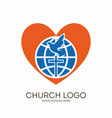 globe cross dove and heart vector image vector image