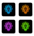 glowing neon light bulb and gear icon isolated on vector image