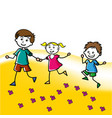 hand drawn children walk on lawn in summer vector image vector image