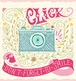 hand drawn vintage print with a camera and vector image