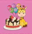 happy birthday card with cute giraffe vector image vector image
