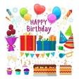 happy birthday party cartoon elements vector image