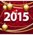 Happy New Year 2015 on Red Background with vector image