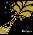 happy new year 2018 gold glitter bottle splash vector image vector image