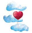 Heart balloon in the clouds in style of low poly vector image