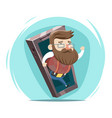 hipster wave hand mobile phone cartoon design vector image vector image