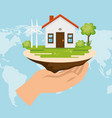 house with save the world icons vector image vector image