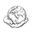 human hand holding globe earth in mans palm save vector image vector image