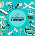 isometric airport colorful template vector image vector image