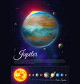 jupiter planet colorful poster with solar system