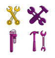 key tool icon set color outline style vector image