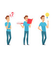 man find answers self education or finding vector image