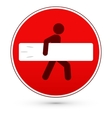 Red stop road sign with surfer man vector image