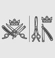 Scissors Razor Crown Logo Emblem vector image