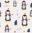 seamless winter pattern with cute penguins vector image vector image