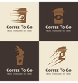 Set of coffee to go labels vector image