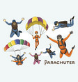 set of parachuter vector image