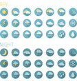 Set of round flat weather icons isolated on white vector image