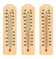 set wooden thermometers vector image vector image