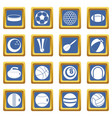 sport balls icons set blue vector image vector image