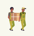 two couriers in uniform carrying cardboard box vector image vector image