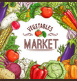vegetable market poster with frame vector image vector image