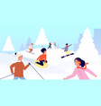 winter kids vacations children sled happy snow vector image vector image